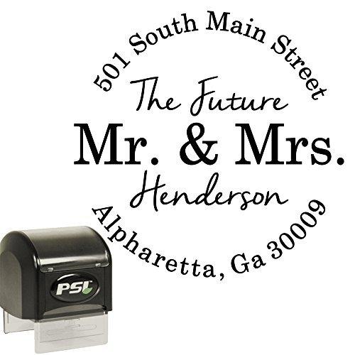 Return Address Stamp Future Mr And Mrs Round Custom Personalized Self Inking Circle Stamp